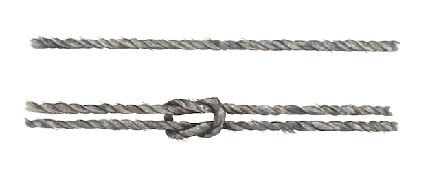 Set of gray rope string with knot. nautical style. watercolor illustration.