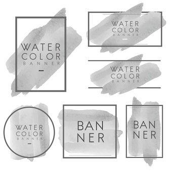 Set of gray watercolor banner design vector