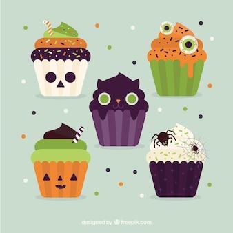 Set of great halloween cupcakes