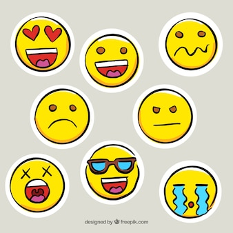 Set of great hand-drawn emoticon stickers