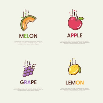 Set of great logos with decorative flat fruits