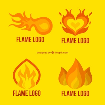 Set of great logos with flames