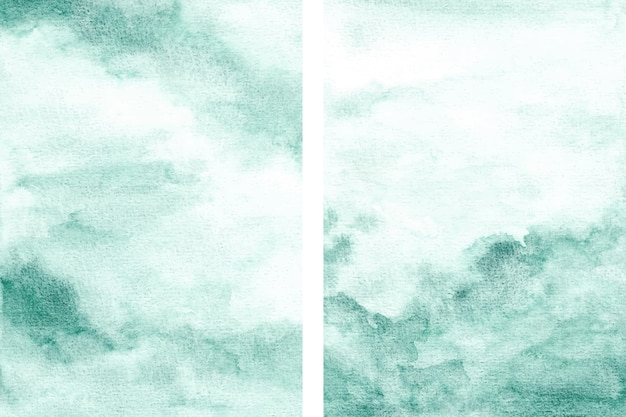 Set of green abstract texture background with watercolor