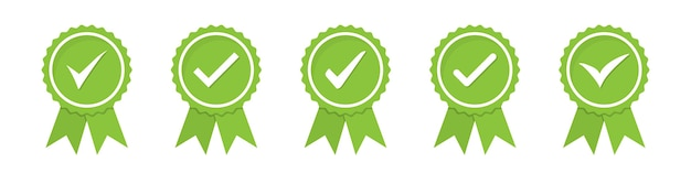 Set of green approved or certified medal icons in a flat design