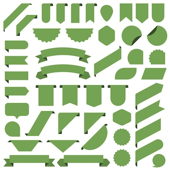 Set of green blank banners ribbon.