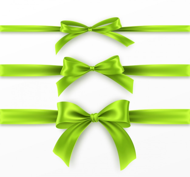 Set green bow and ribbon on white background. realistic green bow.