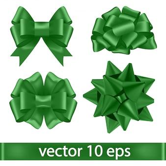 Set of green bows.
