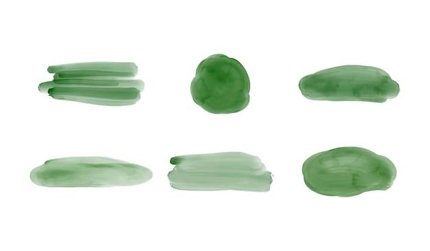 녹색 브러시 스트로크 수채화 밝아진 설정