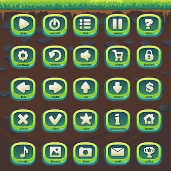 Set green buttons of feed the fox gui match 3 for web video game