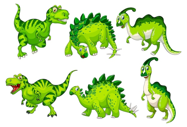 Set of green dinosaur cartoon character