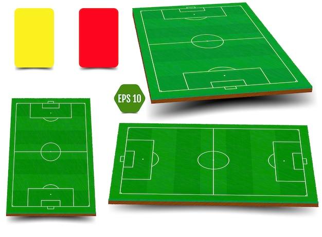 Set of green field for soccer