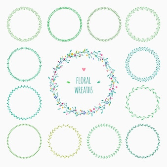 Set of green floral wreaths isolated on white vector rustic decorative wreaths