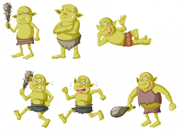 Set of green goblin or troll in different poses in cartoon character isolated