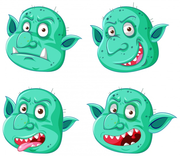 Set of green goblin or troll face in different expressions in cartoon style isolated