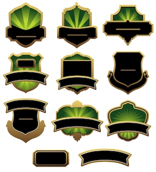 Set of green and golden labels