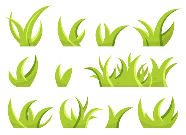 Set of green grass and leaves in cartoon style