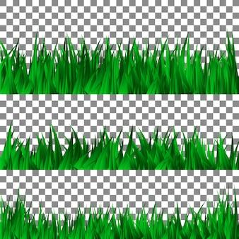 Set of green grass template.