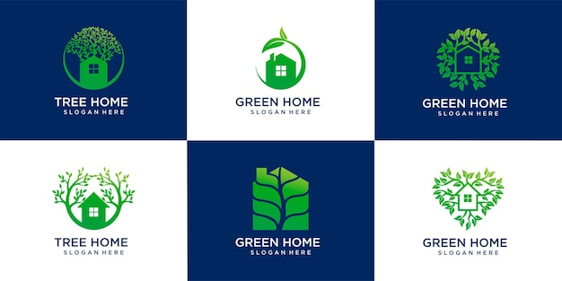 Set of green house and tree home logo design template