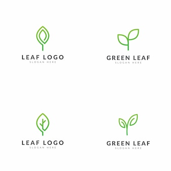 Set of green leaf logo template vector design