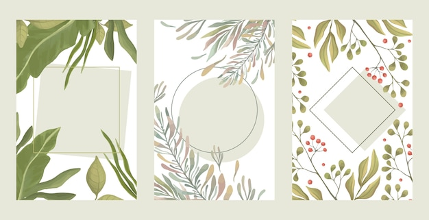 Set of green leaves borders. summer green branches, red berries rectangular borders flat illustration.