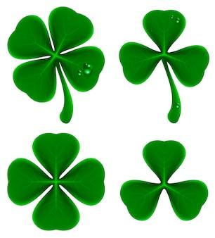 Set of green leaves of clover. shamrock and quatrefoil