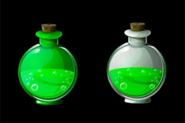 緑の魔法のポーションまたは毒をボトルに入れます。 Premiumベクター