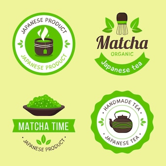 Set of green matcha tea badges