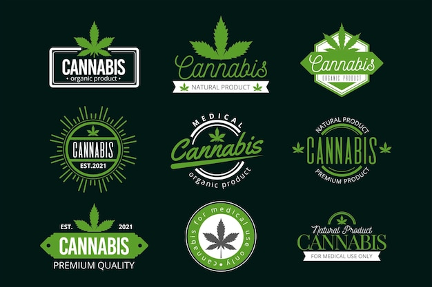 Set of green medical cannabis badges