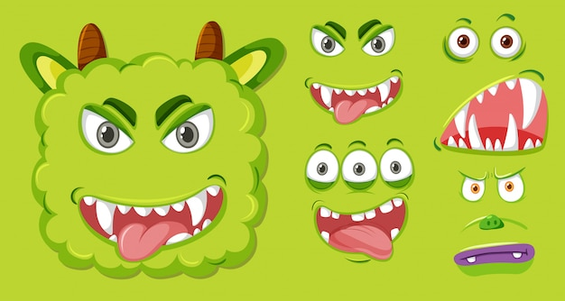 Set of green monster facial expression