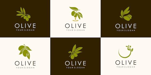 Set of green olive branch logo. olives oil sign. symbol of peace. mythological icon