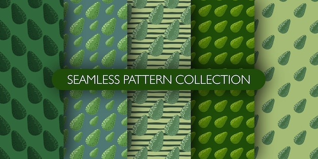 Set of green palette tones seamless vegetarian pattern with avocados