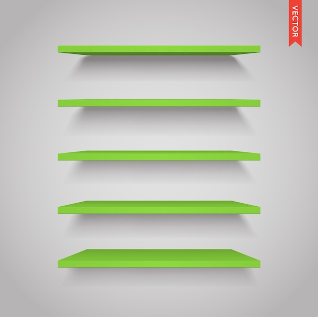 Set of green plastic shelves