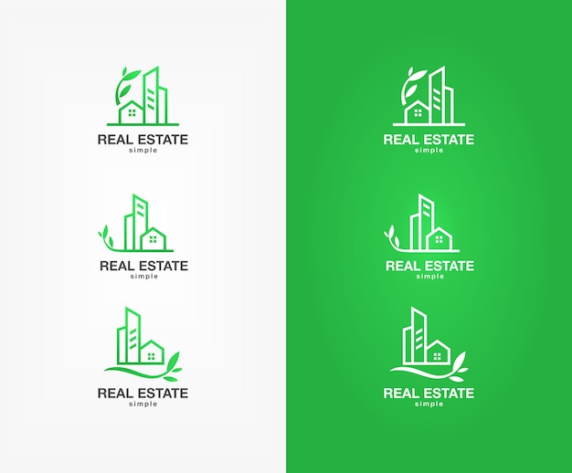 Set of green real estate logo