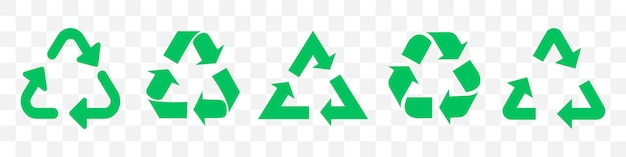 Set of green recycle arrows. illustration