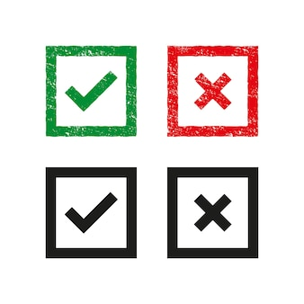 Set of green and red cross and hook checkmark ok and x icons symbols yes and no button for vote decision. grunge stamp template.