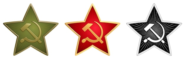 Set of green, red and monochrome soviet stars with a hammer and sickle for military side caps