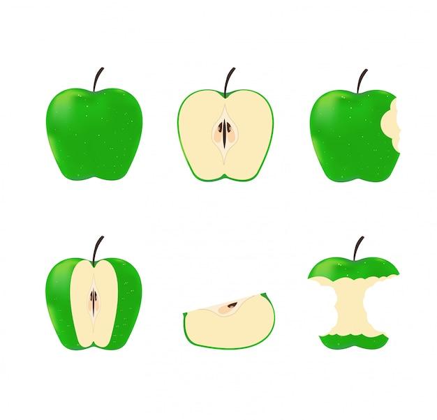 Set green ripe apples