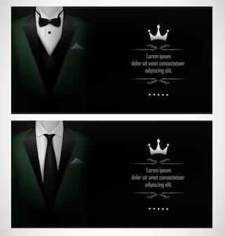 Set of green tuxedo business card templates