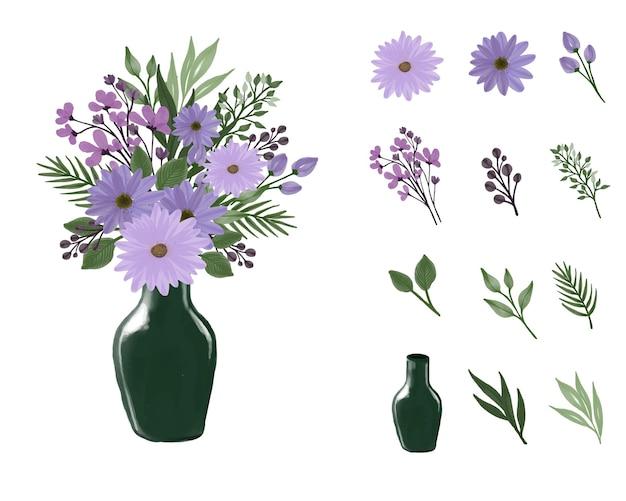 보라색 데이지 수채화 꽃다발과 녹색 꽃병을 설정