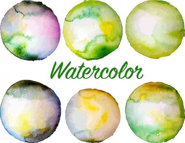 Set of green vector watercolor circles