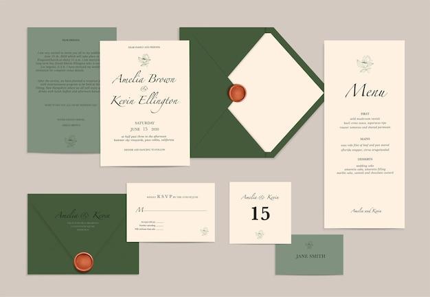 Set di biglietti d'invito per matrimoni verdi e bianchi e menu realistici isolati
