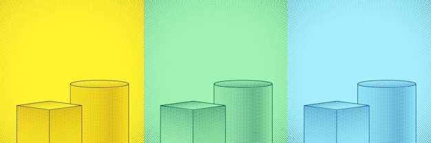 Set of green yellow and blue geometric podium with comic halftone dot decorate