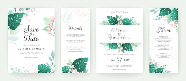 Set of greenery wedding invitation card template design of tropical leaves