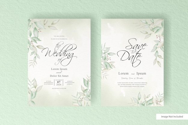 Set of greenery wedding invitation card template