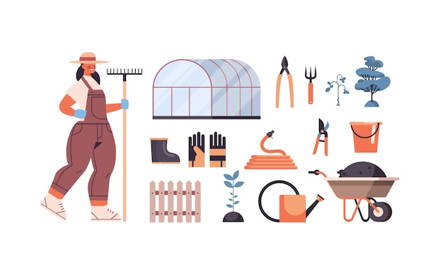Set greenhouse tools gardening equipment and female farmer with rake organic eco farming agriculture concept horizontal vector illustration