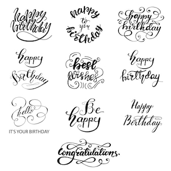 Set of greeting birthday lettering designs. vector illustration.