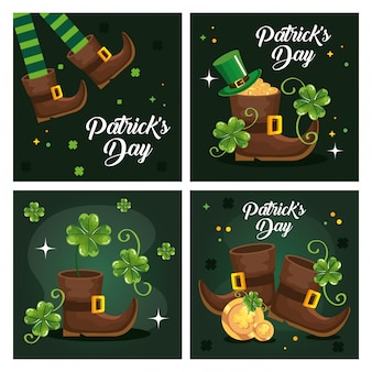 Set greeting card saint patrick day with decoration