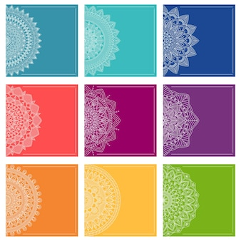 Set of greeting card templates with mandalas, vector illustration
