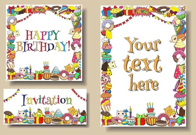 Set greeting cards birthday party s with sweets doodles borders.