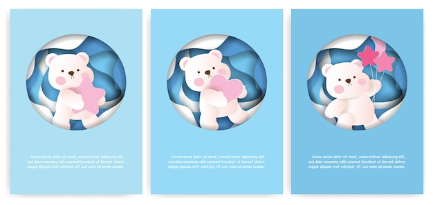 Set of greeting cards with cute teddy bear in paper cut style.